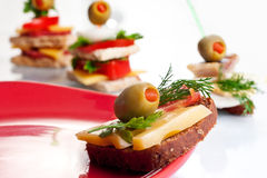 Appetiser sandwiches Stock Images