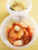 Appetisers, cold prawns and zucchini Stock Photography