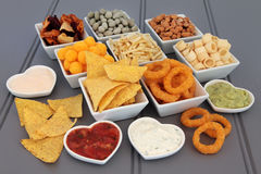Appetisers. Crisp and dip party food selection in porcelain bowls Royalty Free Stock Image