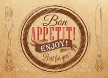 Appetit del Bon del cartel. Papel de Kraft. Fotografía de archivo