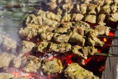 Appetitanregende Stücke mariniertes Fleisch mit Gewürzen brieten Kebab über glühender Kohlenreihe des Schweinefleischhuhns auf Me stockbilder