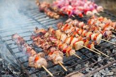 Appetitanregendes Fleisch auf einem Grill Stockbilder