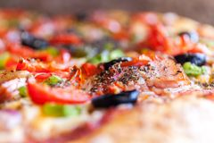 Appetite Pizza A Shallow Depth of Field Close up Food Photography Stock Image