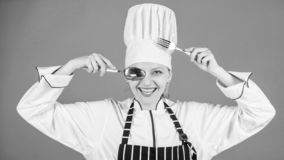 Appetite and taste. Traditional culinary. Professional cook of culinary school. Culinary arts academy. Culinary school. Concept. Woman professional chef hold royalty free stock images