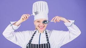 Appetite and taste. Traditional culinary. Professional cook of culinary school. Culinary arts academy. Culinary school. Concept. Woman professional chef hold stock photography