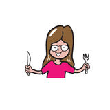 Appetite woman holding knife and fork cartoon Stock Images