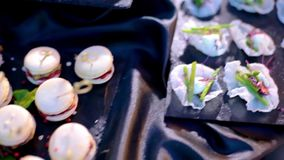 Appetixers at a party. Catering for party. Close up shot of many various appetizers on a dark table. Colorful tasty canapes stock video footage