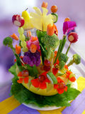 Appetizer. Beautiful arrangement of food and flowers royalty free stock photos