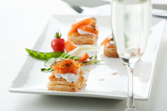 Salmon appetizer. A plate of appetizer of salmon Royalty Free Stock Photography