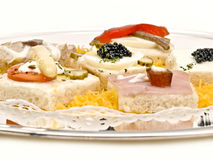 Appetizer. With caviar, and other delights Royalty Free Stock Photography