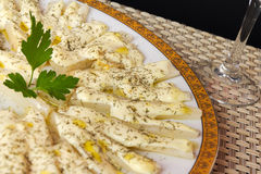Appetizer with asparagus. And decorated with mayonnaise and parsley Stock Images