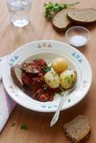 Appetizer from aubergines in a sauce of peppers and tomatoes, served with boiled potatoes. Rustic style, selective focus. Stock Photography