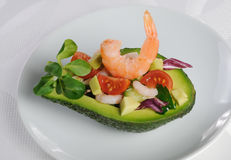 Appetizer of avocado with prawns Royalty Free Stock Photos