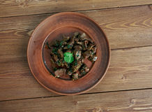 Appetizer beef liver. Antep  kavurma - Appetizer beef liver.Turkish cuisine Stock Image