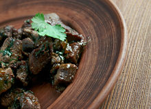 Appetizer beef liver. Antep  kavurma - Appetizer beef liver.Turkish cuisine Stock Images