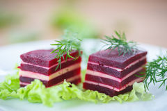 Appetizer of beet and cheese on lettuce leaves Royalty Free Stock Photography