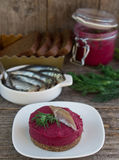 Appetizer of beet on a slice of bread Royalty Free Stock Photography