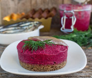Appetizer of beet on a slice of bread Royalty Free Stock Image
