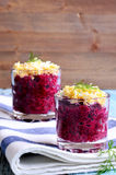Appetizer of beets with eggs Stock Image