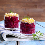 Appetizer of beets with eggs Stock Photography