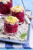 Appetizer of beets with eggs Royalty Free Stock Images