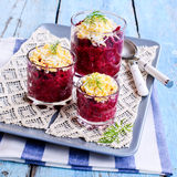 Appetizer of beets with eggs Royalty Free Stock Photos