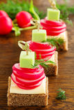 Appetizer of black bread with radish Stock Image