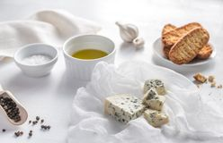Appetizer with blue cheese and croutons Stock Images