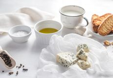 Appetizer with blue cheese and croutons Royalty Free Stock Images