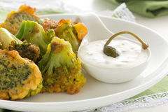 Appetizer of broccoli. In the batter stock photos