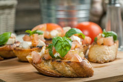 Appetizer bruschetta. Stock Photos