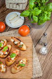 Appetizer bruschetta. Royalty Free Stock Image