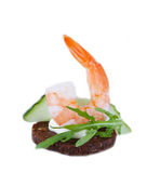 Appetizer canape with  arugula and shrimp Royalty Free Stock Photo