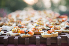 Appetizer canape with salmon Royalty Free Stock Images
