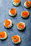 Appetizer canape with salmon, cucumber and cream cheese on stone slate background close up. Stock Photography
