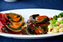 Appetizer century egg with side dish Stock Images