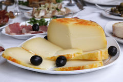 Appetizer - cheese. Appetizer on white restaurant table - cheese royalty free stock photo