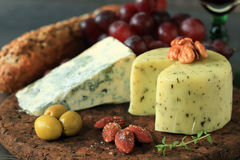 Appetizer with cheese and fruits Stock Photography