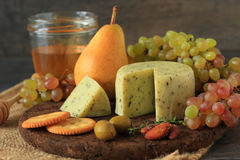 Appetizer with cheese and fruits Royalty Free Stock Photos