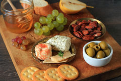Appetizer with cheese and fruits Royalty Free Stock Photography