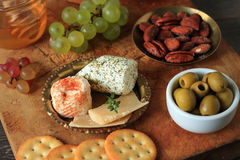 Appetizer with cheese and fruits Stock Photos