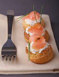 Appetizer, choux with cream and salmon Stock Images