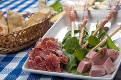 Appetizer of cold cuts Royalty Free Stock Photography
