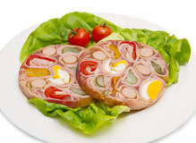 Appetizer of cold meats in jelly Stock Image