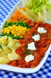 Appetizer, colorful fresh salads with ajvar Stock Image