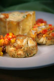 Appetizer with Crab Cakes, Cream Sauce, Cheese Royalty Free Stock Photography