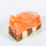 Appetizer. Creative cuisine. Canapes with salmon Royalty Free Stock Photo