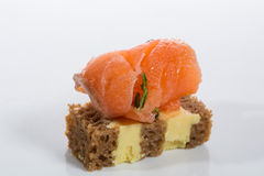 Appetizer. Creative cuisine. Canapes with salmon Royalty Free Stock Images
