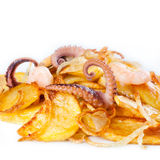 Appetizer of cuttlefish octopus, mussels, shrimp Royalty Free Stock Image