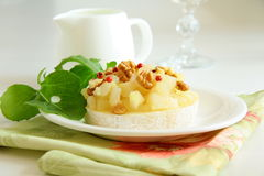 Appetizer delicacy of pears and cheese stock images